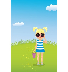 Girl in sunglasses on the lawn vector