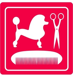 Grooming icon with poodle dog scissors and comb vector