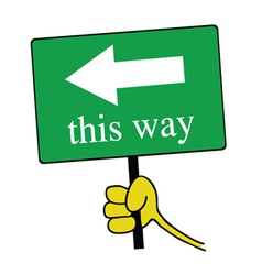 This way signboard with hand color vector