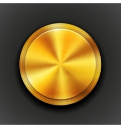 Gold textured metal button vector