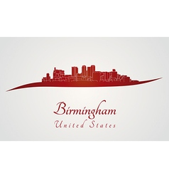 Birmingham al skyline in red vector