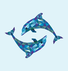 Dolphin low polygon vector