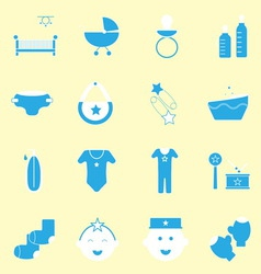 Baby blue color icons set vector