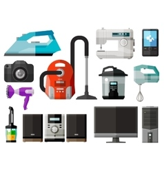 Appliances icons set of elements - iron vacuum vector