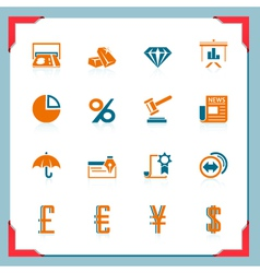 Financial icons in a frame series vector