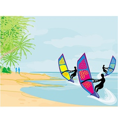 Surfers on a sunny day vector