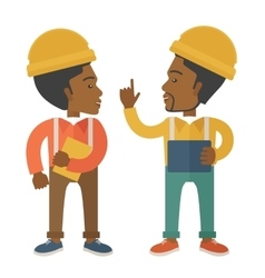 Two black workers talking vector