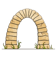 Ancient stone brick arc on white background vector