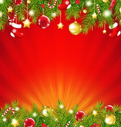 Red xmas sunburst card vector
