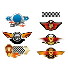 Racing sports emblems and symbols vector