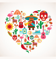 Mexico love - heart with set of icons vector