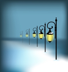 Lanterns stand in snow on blue vector