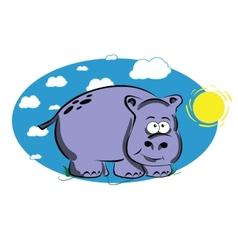 Funny cartoon hippo vector