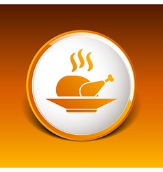 Chicken grill icon logo hot meal cooking vector