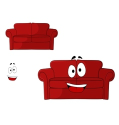Fun cartoon upholstered red couch vector