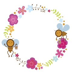 Floral wreath with bees vector