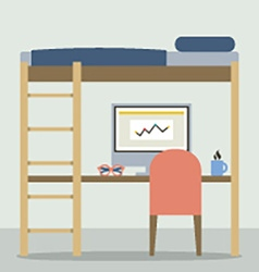 Flat design empty bunk bed with workspace vector