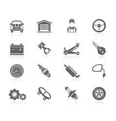Black icons - car maintenance vector