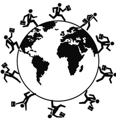 Business people running around the world vector