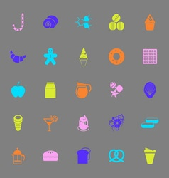 Sweet food color icons on gray background vector