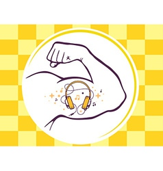 Strong man hand with icon of headphones vector