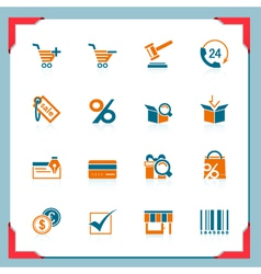 Shopping icons in a frame series vector