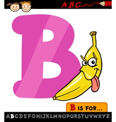 Letter b with banana cartoon vector