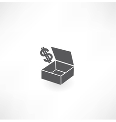 Box with dollar icon vector