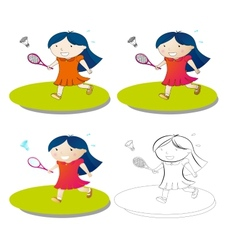 Girl play badminton vector