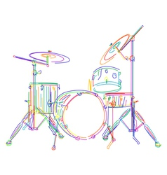 Neon drum kit vector