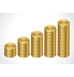 Graph from dollars money coins vector
