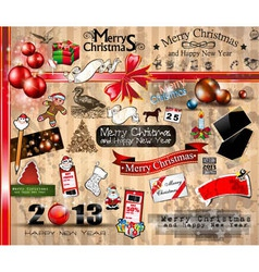 Merry christmas icons collection vector