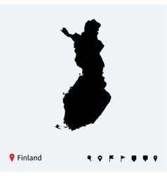 High detailed map of finland with navigation pins vector