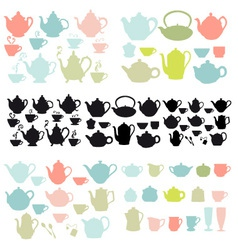Coffee and tea pots and mugs vector