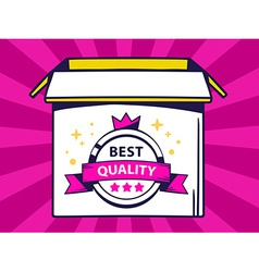 Open box with icon of label best quality vector