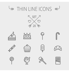 Food thin line icon set vector