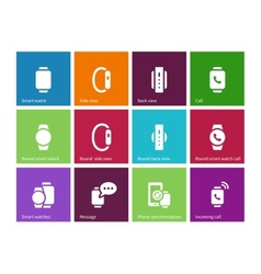 Smart gadget on hand icons on color background vector