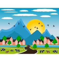 Rural landscape with small town in mountain vector