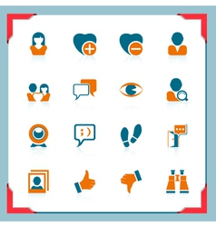 Social and communication icons in a frame series vector