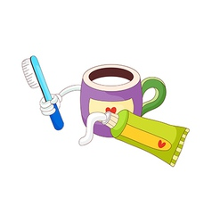 A toothbrush with toothpaste vector