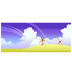 Landscape with windmills vector