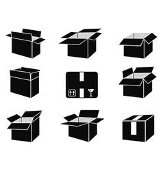 Shipping box icons vector