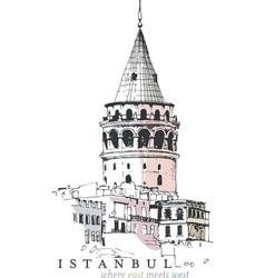 Galata tower drawing vector