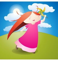 Girl is play pinwheel vector