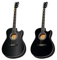 two black acoustic cuta vector
