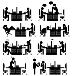 Set of office situation flat icons isolated on vector