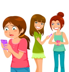 Bullying through cell phone vector