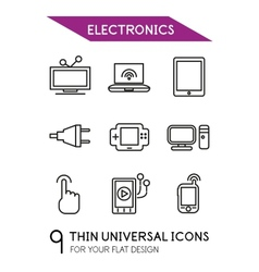 Electronics thin line icon set vector