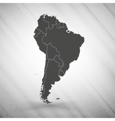 South america map on gray background grunge vector