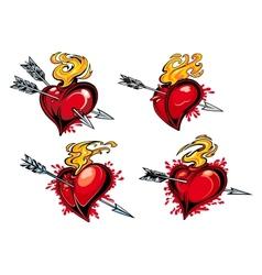 Bleeding hearts with arrows vector